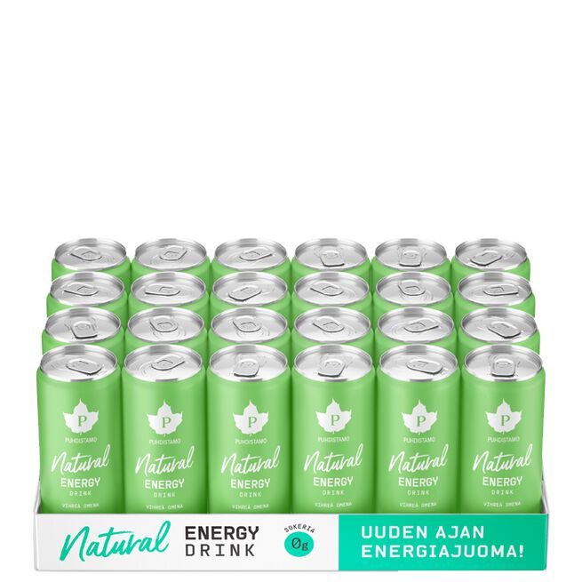 24 x Natural energy drink, Green Apple, 330ml