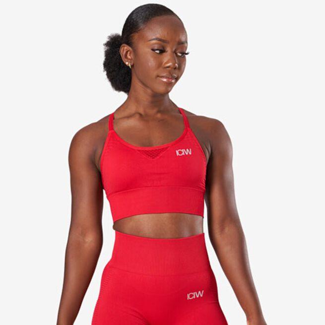 Dynamic Seamless Sports Bra, Deep Red, XS