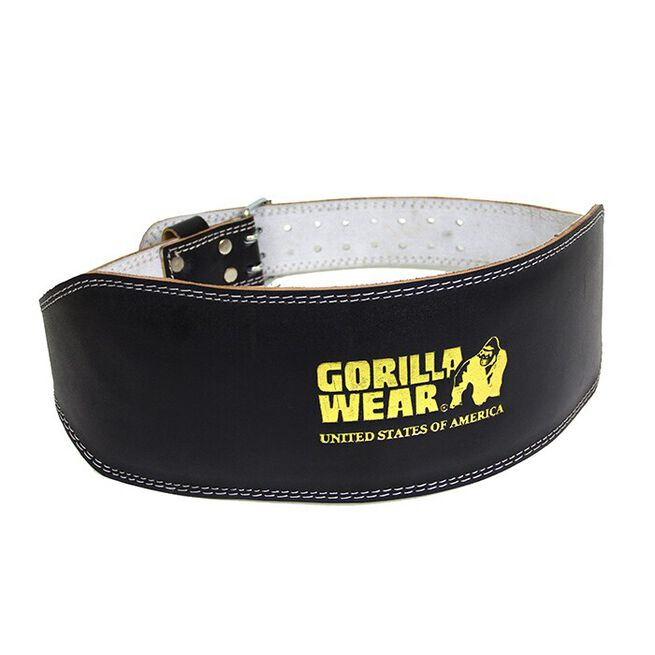 6 Inch Padded Leather Belt, Black/Gold - S/M